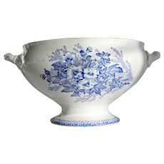 French Ironstone Tureen with Royal Blue Transferware - Onnaing