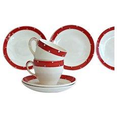 English Red Polka Dot 1950's Trio Tea Set for Two