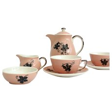 1950's Pink tea or coffee set for two by Villeroy & Boch
