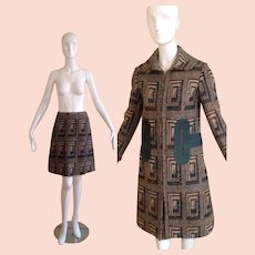 Vintage 60s PIERRE CARDIN Mod Wool Coat and Skirt Set ~Space Age Woven Tweed Jacket with Suede Trim Ensemble