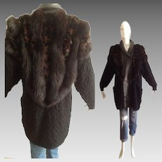 Vintage 80s Genuine Fox and Rabbit Fur Sweater Coat with Black Leather Trim ~ Wool Cardigan Jacket