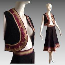 Vintage 70s Boho Hippie NOS India Cotton Midi & Vest Ensemble ~ Skirt & Top Set