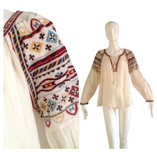 Vintage Sheer Cotton Gauze Embroidered Top w/ Long Tassels ~Embroidered Bohemian Peasant Blouse