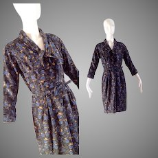 Vintage 50s Pure Silk Floral Print Secretary Dress ~ Made in Italy