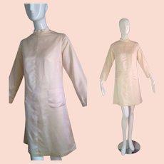 Vintage 60s Cream Satin Ultra Mod Mini ~ Front Pocket A Line Flare Dress