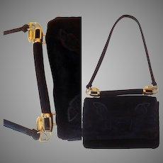 Vintage 50s Black Velvet Evening Purse ~ Embossed Flap Front Bag with Chunky Gold Hardware