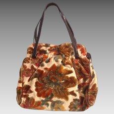 Vintage 50s 60s Velvet Tapestry Bag Genuine Leather Trim ~ Floral Chenille Purse ~ Retro Handbag