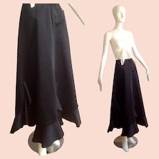 Vintage 70s High Waisted Satin Formal Party Skirt ~ Long Maxi Gown with Flutter Ruffle Hem
