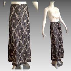 Vintage 70s Metallic Lurex Knit Skirt with Seed Beads ~ Hight Waisted Beaded Stretch Maxi