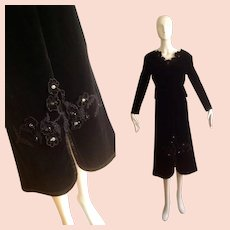 Vintage 50s Velvet Top & Skirt Set ~ Formal Retro Ensemble with Sequin Flower Appliqués