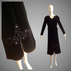 Vintage 50s Velvet Top & Skirt Set ~ Formal Retro Ensemble with Sequin Flower Appliqués