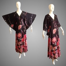 Vintage 70s Floral Maxi Dress with Giant Angel Sleeves ~ Boho Hippie Hostess Gown