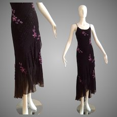 Vintage 80s Sheer SILK Dress ~ Tiered Sequin Floral Maxi Beaded Gown with Purple Velvet Flower Appliqué
