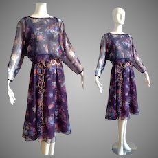 Vintage 70s Boho Hippie Sheer Floral Dress ~ Dolman Drape Sleeve Chiffon Midi