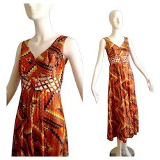 Vintage 70s Mosaic Print Maxi Dress with Sheer Cage Cutout Detail ~ Boho Hippie Retro Graphic Gown