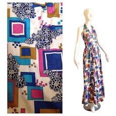 Vintage 70s Boho Hippie Halter Dress ~ Mod Geometric Pattern Summer Maxi