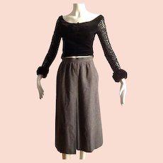 Vintage Yves Saint Laurent Rive Gauche Grey  Knee Length Wool Skirt