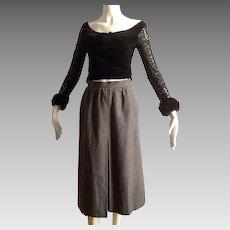 Vintage Yves Saint Laurent Rive Gauche Grey  Knee Length Wool Skirt