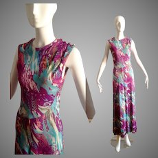 Vintage 70s Psychedelic Jersey Stretch Dress ~ Full Length Boho Hippie Retro Gown