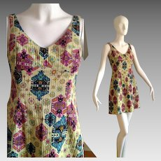 Vintage 60s Ultra Mod Dress ~ Ribbed Ethnic Print Mini with Flared Skirt