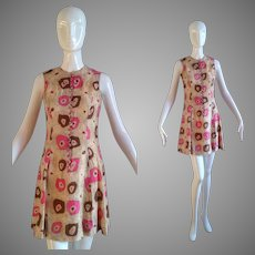 Vintage 60s Mod Pure Silk Ethnic Retro Print Mini Dress ~ Button Front Space Age Flared Skirt