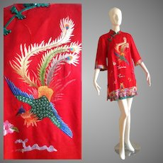 Vintage Pure Silk Peacock Embroidered Chinoiserie Mini Dress ~ Heavy Embroidered Asian Tunic