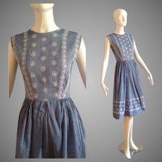 Vintage 50s Sheer Cotton Retro Summer Dress ~ Light Blue & White Embroidered Day Dress