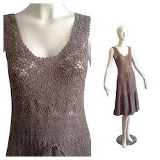 Vintage 70s Boho Hippie Sheer Hippie Crochet Dress ~ Open Knit Floral Cutout Festival Maxi