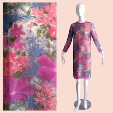 Vintage Ultra Sheer Silk Floral Dress ~ Water Colour Midi ~ Flower Print Shell Shift