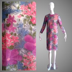 Vintage Ultra Sheer Silk Floral Dress ~ Water Colour Midi ~ Flower Print Shell Shift