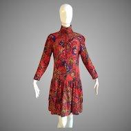 Vintage Guy Laroche Paris Wool Dress ~ Floral Print Pleated Midi Skirt ~