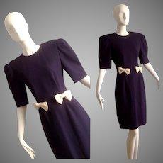 Vintage 80s Pure Wool Wayne Clark for Holt Renfrew Navy Blue Bow Tie Dress ~ Tailored Fit Designer Midi