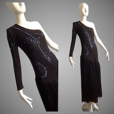 Vintage Lily Simon Designer One Sleeve Off Shoulder Sequin Jersey Gown ~ Beaded Asymmetrical Drop Waist Pleated Skirt Dress