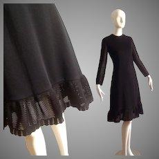 Vintage Black Dress with Mesh Sleeves And Ruffle Trim Hem ~ Designer Fitted Midi LBD