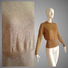 Vintage 50s Metallic Gold Lurex Knit Sweater ~ Retro Ribbed Top