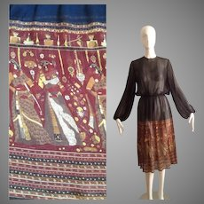 Vintage 70s Ultra Sheer SILK Dress with Ethnic Indian Tribal Motif Skirt ~ Long Billowed Sleeve Secretary Midi