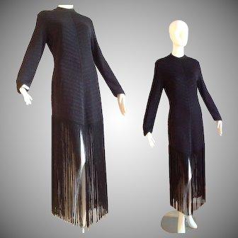 Vintage Guy Laroche Tricots Black FRINGE Lurex Dress ~ Chevron Stripe Knit Maxi
