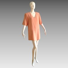 Vintage SONIA RYKIEL Paris Pale Pink Modernist Mini Dress ~ Minimalist Designer Tunic