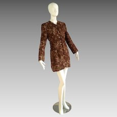 Vintage 50s Brown Embroidered Brocade Fitted Evening Jacket ~ Formal Retro Over Coat