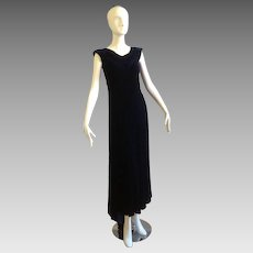 Vintage 1930s Dark Blue Silk Velvet Art Deco Gown With Bow Tie Back And Training Skirt