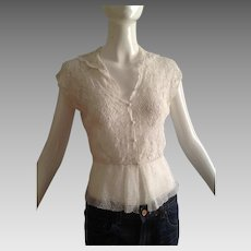 Vintage 1930s Irish Lace Blouse ~ Hand Made Crochet Top