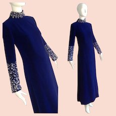 Vintage Roger Freres Royal Blue Velvet Dress ~ Formal Maxi Gown with Sequin & Beads