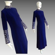 Vintage Roger Freres Royal Blue Velvet Dress ~ Formal Maxi Gown with Sequin & Beads