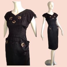 Vintage 40s 50s Black Satin Bombshell Dress with Sequin Floral Appliqués