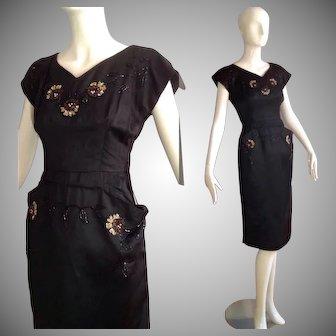 Vintage 40s 50s Black Satin Bombshell Dress with Sequin Floral Appliqués