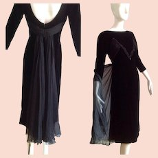 Vintage 40s Black SILK VELVET Dress with Sequins and Sheer Chiffon Bustle back Cape Skirt