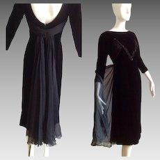 Vintage 40s Black SILK VELVET Dress with Sequins and Sheer Chiffon Bustle back Cape Skirt