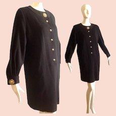 Vintage YSL Yves Saint Laurent Rive Gauche Black Wool Knit Dress with Chunky Gold Sunburst Buttons