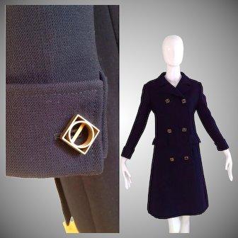 Vintage 60s Patrick De Barentzen Mod Military Coat ~ Space Age Couture Jacket ~Navy Blue Wool Pea Stroller ~Mid Century Buttons