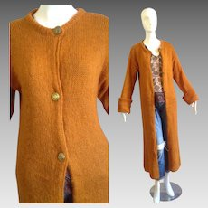 Vintage Long Burnt Orange Cardigan Sweater Coat ~ Cosy Mohair Wool Duster